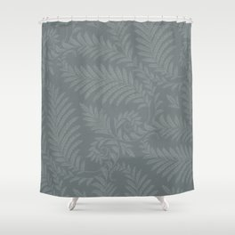 Fancy Leaves Scroll Damask Night Watch Pewter Green Pattern Shower Curtain