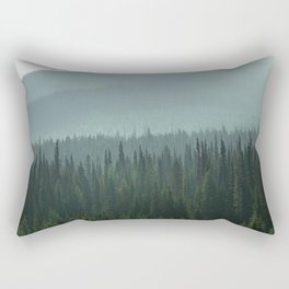 Misty Pine Trees Photography, Forest Mountain Landscape Photography Rectangular Pillow