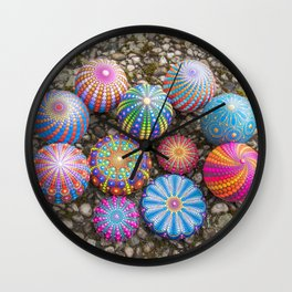 Collection of hand painted mandala stones Wall Clock