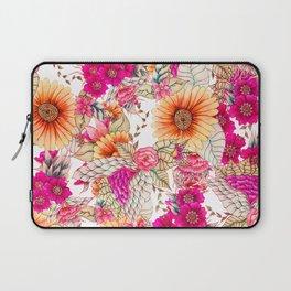 Pink orange spring vintage floral watercolor illustration pattern Laptop Sleeve
