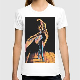 3306s-EH Dancing Woman Rendered in Pastel Female Figure by Chris Maher T-shirt