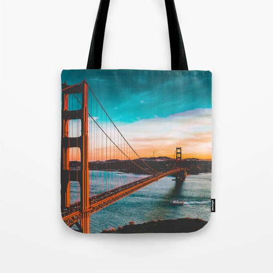 ADVENTURE - wall tapestry - travel - water - sky - landscape nature photography golden gate bridge Tote Bag