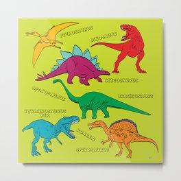 Dinosaur Print - Colors Metal Print