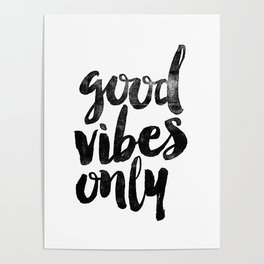 Good Vibes Only black and white typography poster black-white design home decor bedroom wall art Poster
