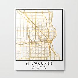 MILWAUKEE WISCONSIN CITY STREET MAP ART Metal Print