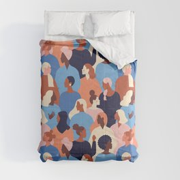 Female diverse faces of different ethnicity blue Comforters