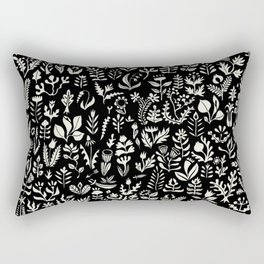 Black and white botanical pattern Rectangular Pillow