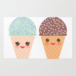 Ice cream waffle cone Kawaii funny muzzle with pink cheeks and winking eyes, pastel colors Rug