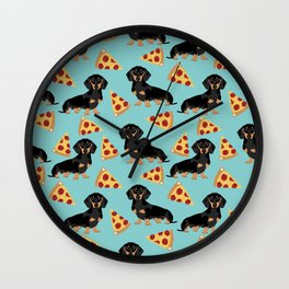 dachshund pizza black and tan doxie dog breed cute pattern gifts Wall Clock