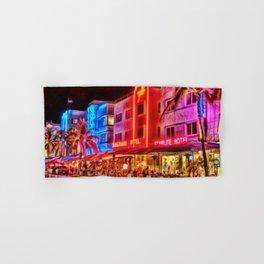 Nighttime South Beach Starlite & Colony Hotels Miami landscape by Jeanpaul Ferro Hand & Bath Towel