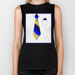 White Collar with Tie in Blues, Series Formal but Not Formal Biker Tank
