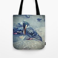 hiphop Tote Bags featuring HipHop Dove Watch by Sigurdfisk