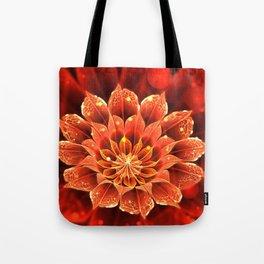 Red Dahlia Fractal Flower with Beautiful Bokeh (Vivid Crimson) Tote Bag