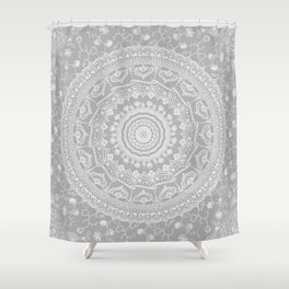 Secret garden mandala in soft gray Shower Curtain