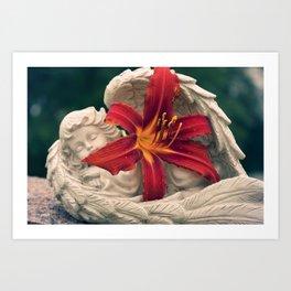 Angel and Daylily Art Print
