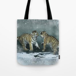 Playful Tiger Cubs Tote Bag