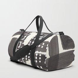 Vintage Abstract Mid Century Modern Playful Dark Black Ink Maze Pattern White Tribal Marks Duffle Bag