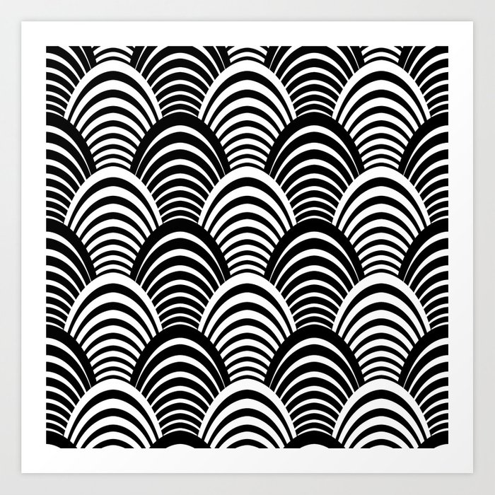 Black And White Art Deco Pattern Print