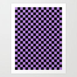 Black and Lavender Violet Checkerboard Art Print