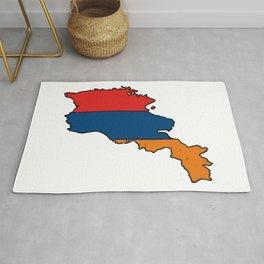 Armenia Map with Armenian Flag Rug