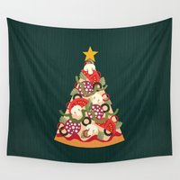 pizza Wall Tapestries featuring PIZZA ON EARTH by Daisy Beatrice