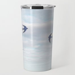 barn swallows, day lilies, and chicory Travel Mug