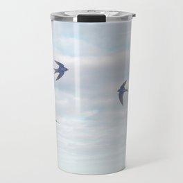 barn swallows, day lilies, and chicory Travel Mug