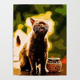 british shorthair cat ready to attack vector art Poster