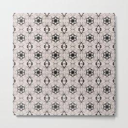 Bridal Blush Floral Geometric Pattern Metal Print