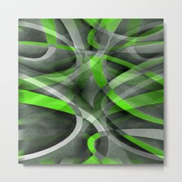 Eighties Vibes Lime and Grey Layered Curve Pattern Metal Print