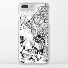 Geometric Portait Black and White Collage Clear iPhone Case