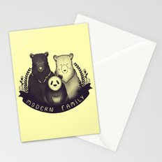 Modern Bear Family (Yellow) Stationery Cards