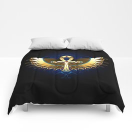 Gold Ankh with Wings Comforters