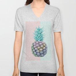 Pineapple with pastel background Unisex V-Neck