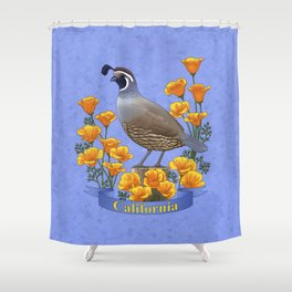 California State Bird Quail and Golden Poppy Shower Curtain