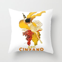Vintage Asti Cinzano Poster by Leonetto Cappiello Beverage Champagne Drink Artwork for Prints Poster Throw Pillow