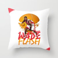 nba Throw Pillows featuring NBA Legends: Dwyane Wade by Akyanyme