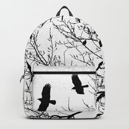 Crows Flying Birds in Tree Branches Black on White Backpack