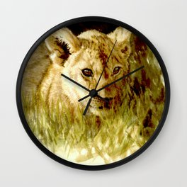 Lion Cub watercolor Wall Clock