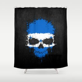 Flag of Honduras on a Chaotic Splatter Skull Shower Curtain