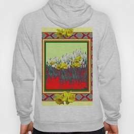DECORATIVE RED-GOLD WHITE DAFFODIL GARDEN  ART Hoody