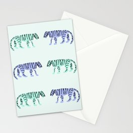 Purple & Mint Tigers Stationery Cards