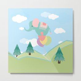 Elephant and Balloons, nursery decor , Metal Print