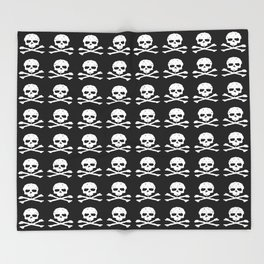 Skull and XBones in Black and White Throw Blanket