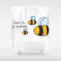 bees Shower Curtains featuring Bees!!! by AbelleArt