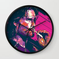 metal gear Wall Clocks featuring ESCAPE FROM METAL GEAR by mergedvisible