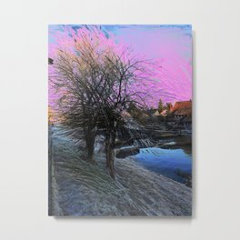 Winter Scene by the Canal Metal Print