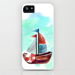 Ship in the Watercolor iPhone Case