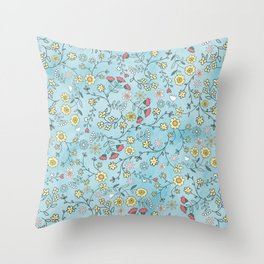 Blue Ditsy Flowers Throw Pillow