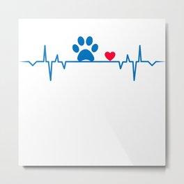 Dog Paw Heartbeat Love Gift T-Shirt Metal Print